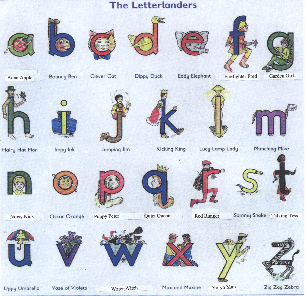 Free Letterland Alphabet Coloring Pages